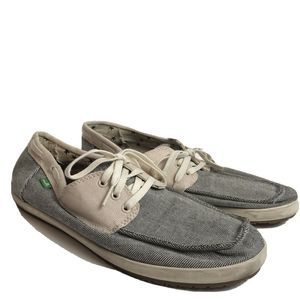 Sanuk Canvas Boat Shoes 2 Tone Lace Up